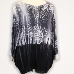 TRIBAL JEANS Charcoal Gray Paisley Top